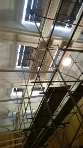 Photo showing internal protection as roof-lights are replaced