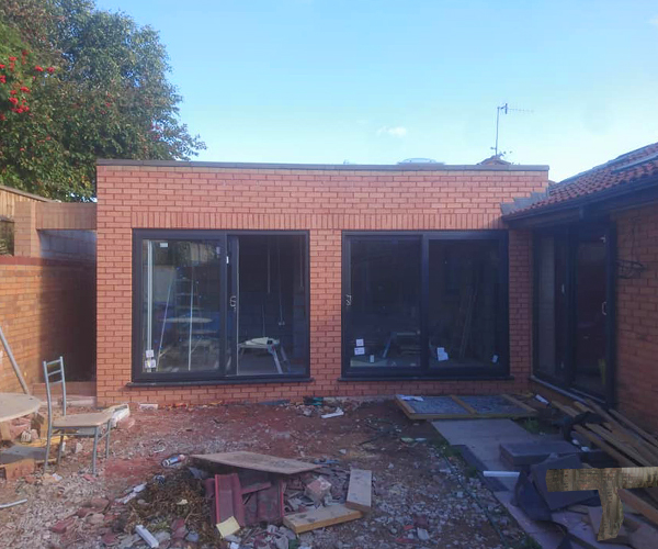 A photo of a house extension in progress by JODB chartered surveyor liverpool
